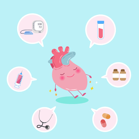 cute cartoon heart with health concept on the blue background Illustration