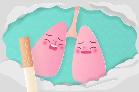 lung with healthy concept on the green background