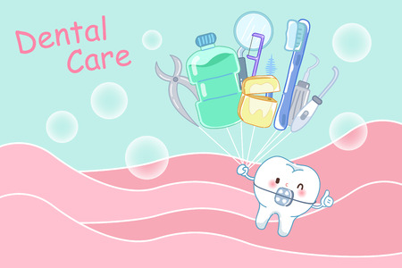 tooth with dental care concept on the green background Illustration