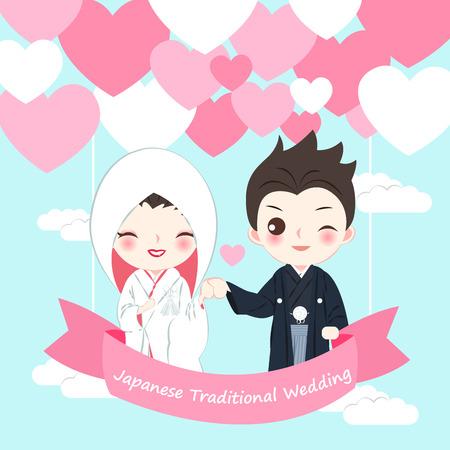 cute cartoon japanese wedding couple on the blue background  イラスト・ベクター素材