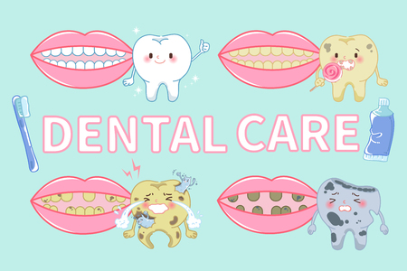 tooth with dental care on the green background Illustration