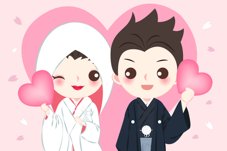 cute cartoon japanese wedding couple on the pink background