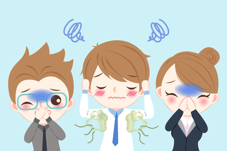 cute cartoon businessman with body odor problem on blue background