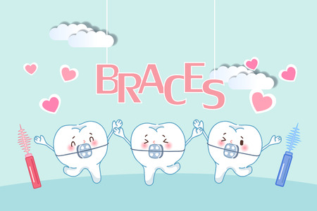 cute cartoon tooth wear brace with brushes Ilustrace