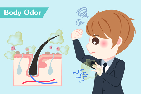 cute cartoon businessman with body odor problem on blue background Illustration