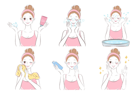 woman wash face on the blue background Illustration