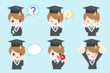 cute cartoon graduate on the blue background