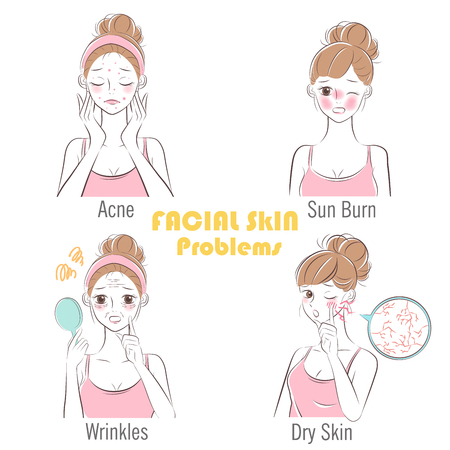 beauty cartoon woman with facial skin problems 版權商用圖片 - 115189896