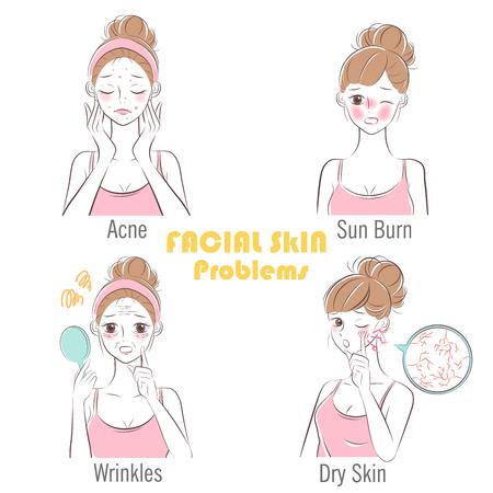 cartone animato di bellezza donna con problemi di pelle del viso Vettoriali