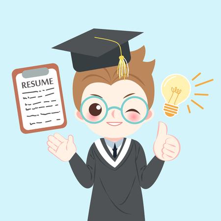 cute cartoon graduate on the blue background