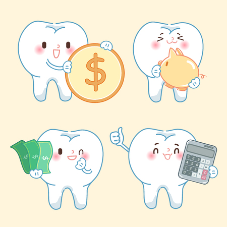 cartoon tooth with money on the yellow background