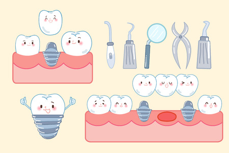 cute cartoon tooth implant on the yellow background