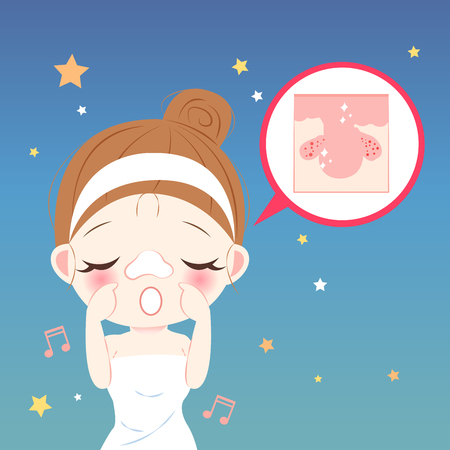 beauty cartoon woman with nose mask at night