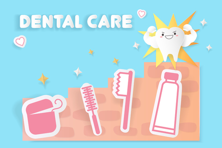 tooth with dental care concept on the blue background Illustration