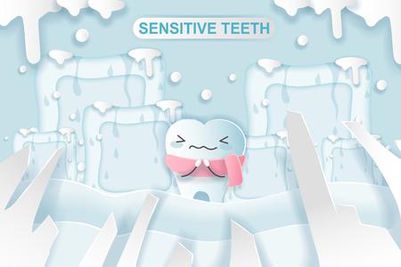 cute cartoon tooth feel bad with sensitive problem Vecteurs