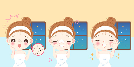 cute cartoon woman with black head problem before and after Illustration