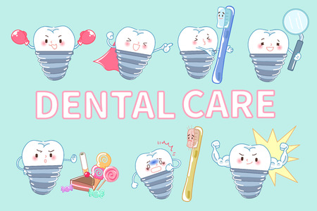 tooth with dental care on the blue background