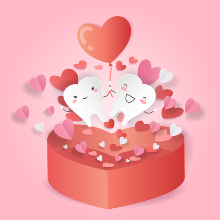 cartoon tooth with love concept on the pink background Vector Illustration