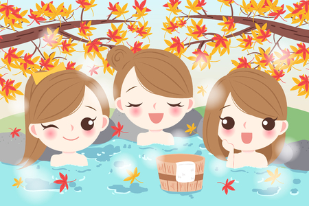 cartoon girls smile happily with hot spring 矢量图像