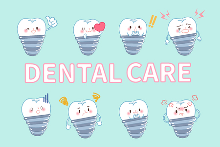 tooth with dental care concept on the blue background