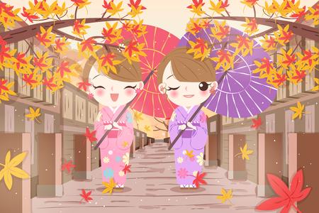 cute cartoon woman wear kimono with maple
