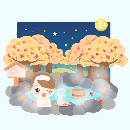 cartoon girl smile happily with hot spring