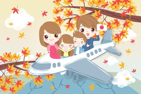 la famille de dessin animé mignon voyage joyeusement au japon