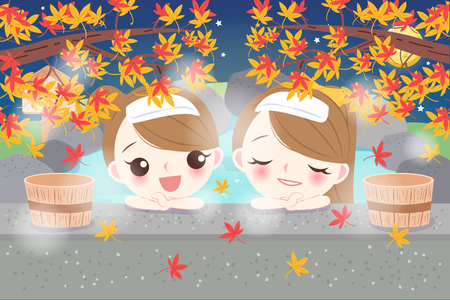 cartoon girls smile happily with hot spring Stock Illustratie