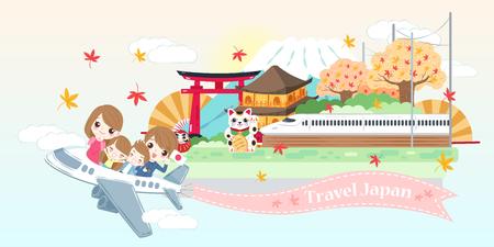 かわいい漫画の家族は日本で幸せに旅行します 写真素材 - 106514409