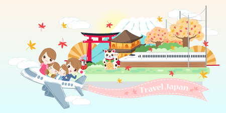 cute cartoon family travel happily in the japan