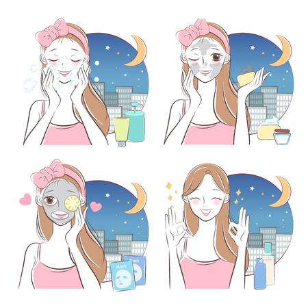 Schönheitskarikatur-Hautpflegefrau mit Maske bei Nacht Vektorgrafik