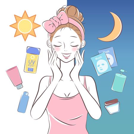 beauty cartoon skincare woman on the white background Vettoriali