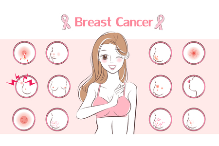 woman with breast cancer symptom on the pink background