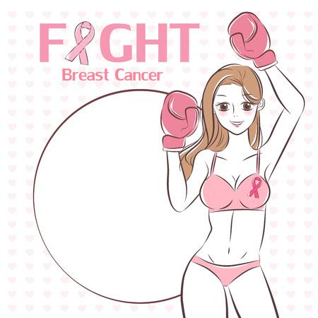 mujer con prevención del cáncer en el fondo blanco