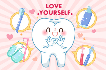 tooth with love yourself concept on the pink background 일러스트