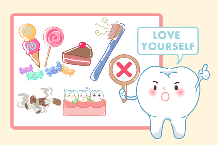 tooth with love yourself concept on the yellow background