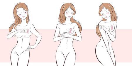 Frau mit Krebsprävention auf dem rosa Hintergrund