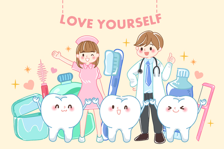 tooth with love yourself concept on the yellow background Vector Illustration