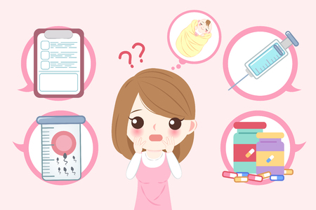 woman with infertility concept on the pink background Ilustração