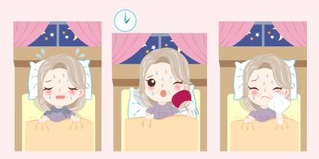 Frau mit Wechseljahren und Nachtschweißproblem auf dem rosa Hintergrund