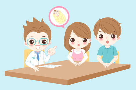 couple with infertility concept on the blue background Vector Illustration