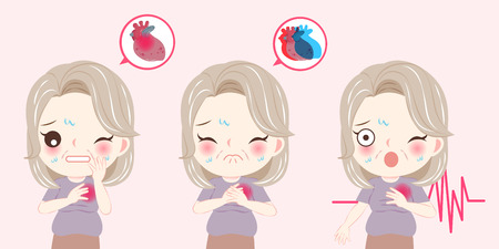 woman with menopause and heart pain problem on he pink background Illustration