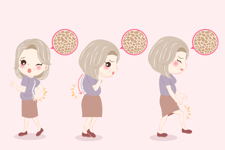 woman with menopause and skin problem on the pink background Illustration