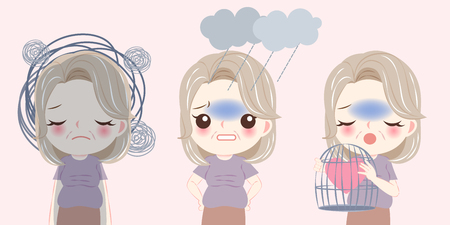 femme avec problème de ménopause et ressentir une dépression sur le fond rose