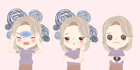 femme avec problème de ménopause et ressentir une dépression sur le fond rose Vecteurs