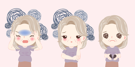 vrouw met menopauze probleem en voelt zich depressief op de roze achtergrond Vector Illustratie