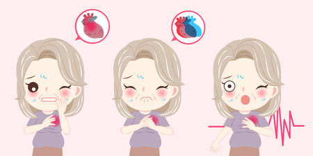woman with menopause and heart pain problem on he pink background 矢量图像