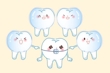 cute cartoon tooth wear invisible braces are laugh Vectores