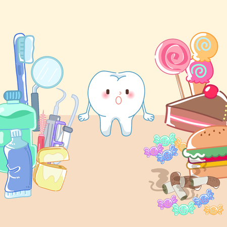 cute cartoon tooth with tool and junk food on yellow background