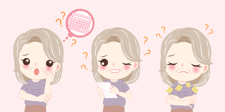 woman with menopause problem and memory concept on the pink background
